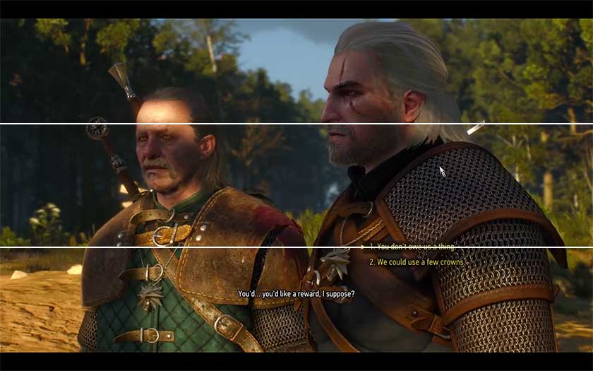 The layout for the dialog replies for the witcher.