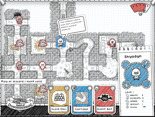 A screenshot of Guild of Dungeoneering gameplay.