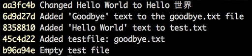 Output text for a git log command.