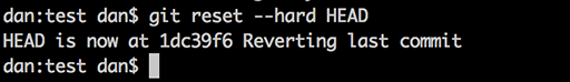 Reverting local changes in git.