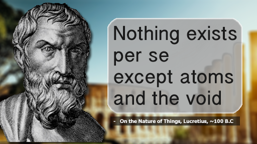 Nothing Exists Per Se Except Atoms and the Void, -   On the Nature of Things, Lucretius, ~100 B.C.